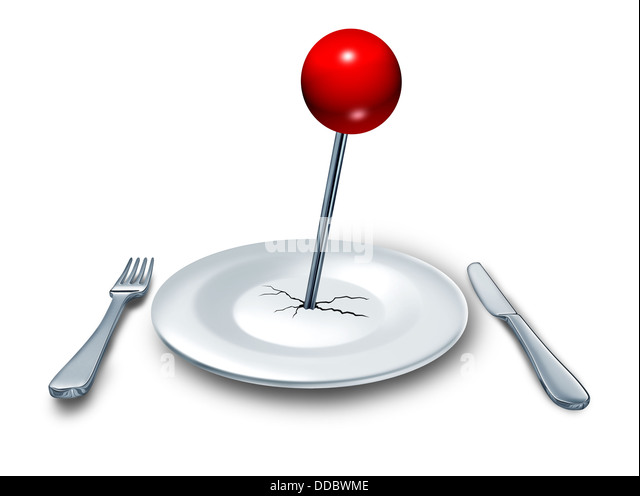 Place to eat at a restaurant or diner as a food and drink concept with a dinner plate and a place setting with fork - Stock-Bilder