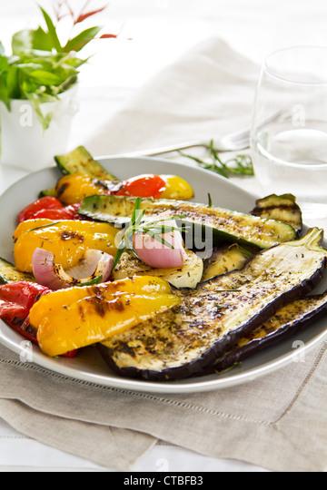 Grilled vegetables salad - Stock Image