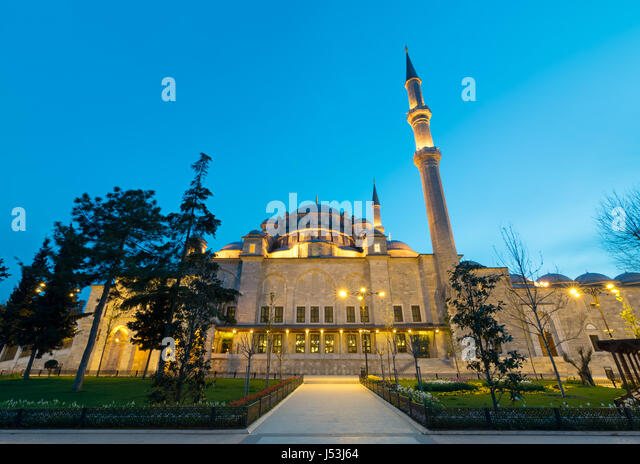 Exterior low angle night shot of Suleymaniye Mosque, an Ottoman imperial mosque located on the Third Hill of Istanbul, - Stock Image