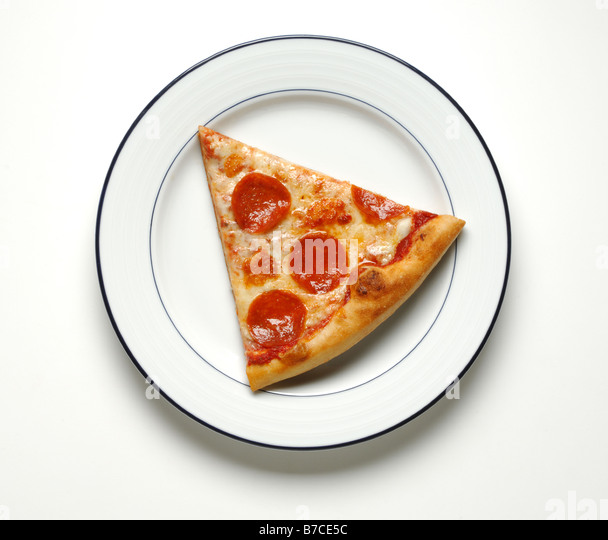 A slice of cheese and pepperoni pizza on a round white dinner plate - Stock Image