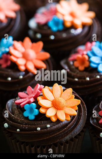 Chocolate cupcakes - Stock Image