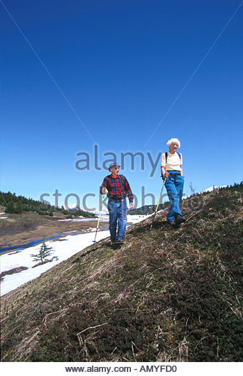 Elderly Couple Hiking in Turnagain Pass Chugach NF - Stock Image