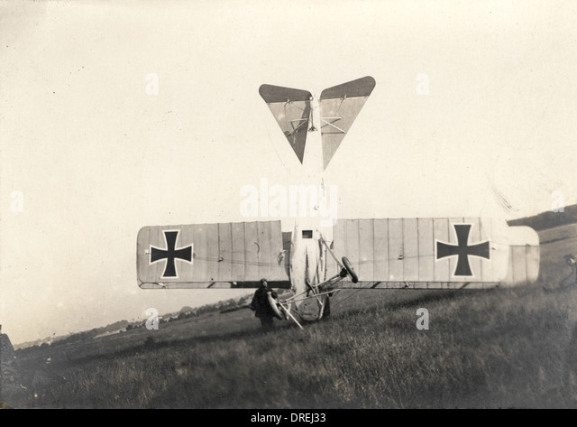 Crashed German aircraft - WWI - Stock Image