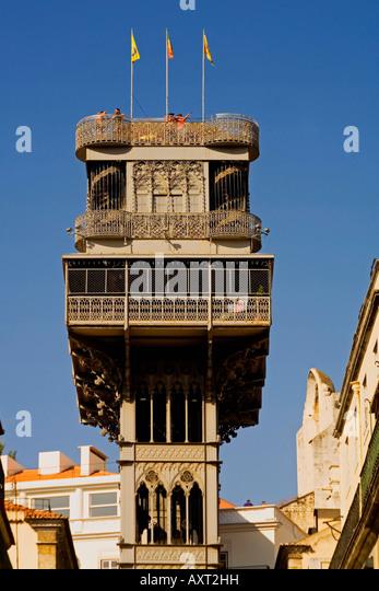 Portugal Lisbon Portugal Lisbon Baixa Chiado Elevator de Santa Justa - Stock Image