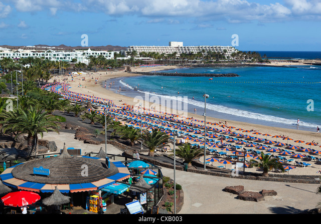 Playa de las Cucharas, Costa Teguise, Lanzarote, Canary Islands, Spain, Atlantic, Europe - Stock Image