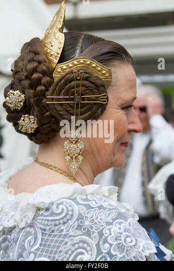 Woman in traditional costume during Fallas festival Valencia Spain - Stock Image