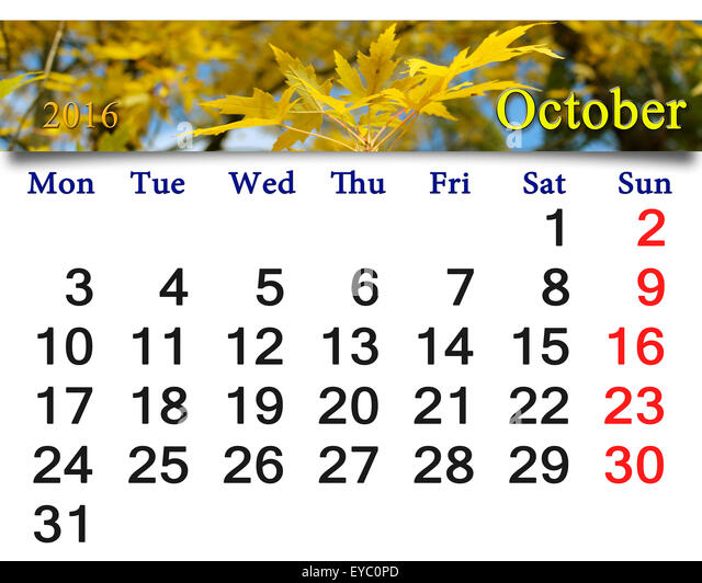 calendar for October 2016 with the ribbon of yellow leaves - Stock ...