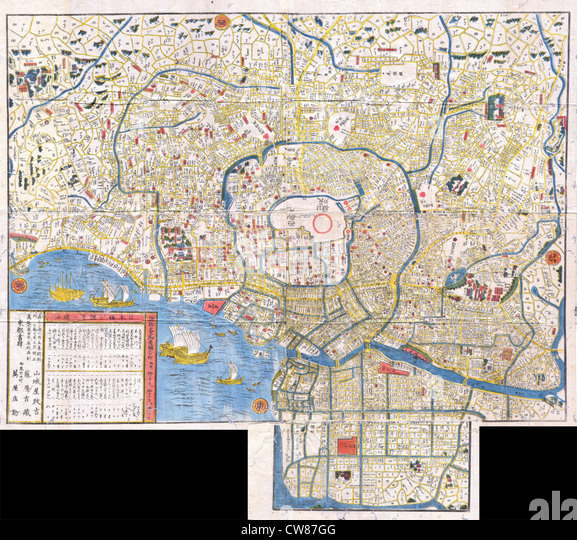 1849 Edo Period Japanese Woodcut Map of Edo or Tokyo Japan - Stock Image