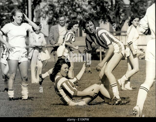May 14, 1973 - Olympic Ski-Champion On The Football-Ground Ops: Marie-Theres Nadig Has Benn Hurt, not Badly, but - Stock Image