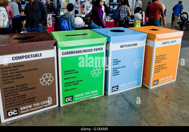 Cardboard recycling bins - USA - Stock Image