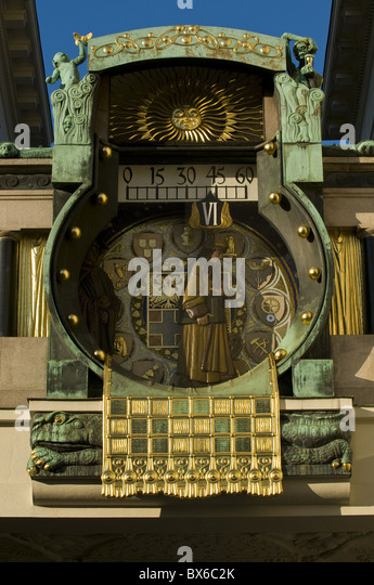 Beautiful old clock in the center of Vienna, Austria, Europe - Stock Image