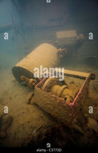 Wreckage of the steamship Stassa, which sank in 1966, in the waters of South Harris in the Outer Hebrides, Scotland. - Stock Image
