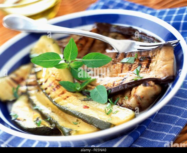 Grilled courgette and aubergine antipasti - Stock Image