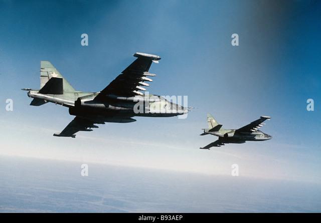 Soviet SU 25 attack planes - Stock Image