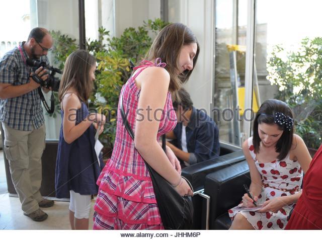 Lodovica Comello  (Francesca) firma autografi ai fans. Actors of Disney's tv series Violetta meeting fans in - Stock Image