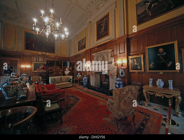 The Great Hall, Dunham Massey, in the evening. NT near Altrincham, Cheshire, England, UK - Stock Image