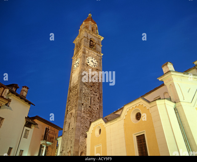 Switzerland Ticino Ascona church clock tower dusk - Stock Image
