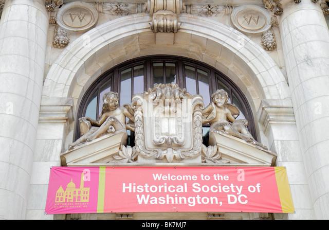 Washington DC Historical Society of Washington DC historic Carnegie Library building entrance banner Beaux-Arts - Stock Image