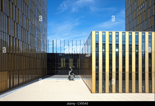 Office towers, Entrance, European Court of Justice, Kirchberg Plateau, European District, Luxembourg City, Europe - Stock Image