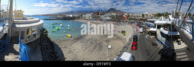 Panorama of La Pinta beach Adeje South Tenerife Canary Islands Spain - Stock Image