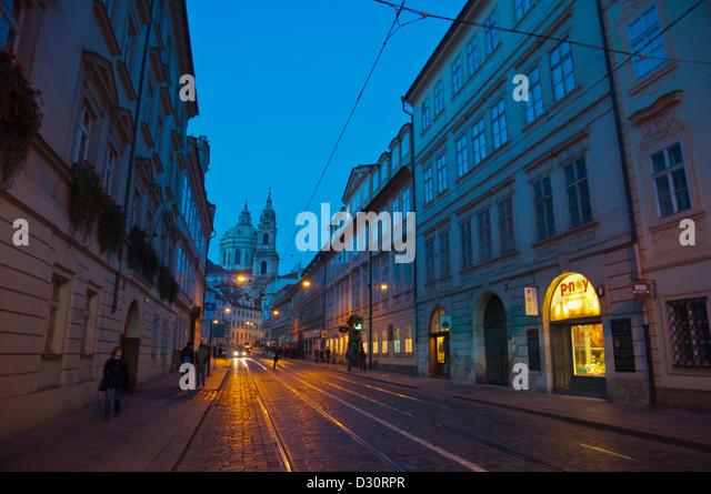 Karmelitska street Mala strana the little town historical quarter Prague Czech Republic Europe - Stock Image