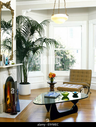 Living Room of 19th century home with modernist furnishings - Stock Image
