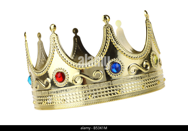 Kings crown cutout isolated on white background - Stock Image