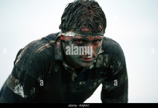 Rugby player after a hard match - Stock Image