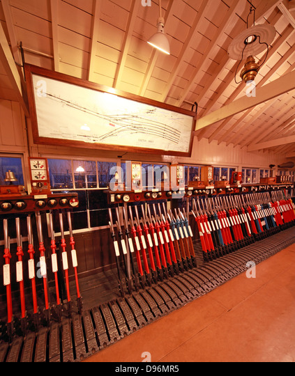 Evening with the levers in the Exeter West signalbox, Crewe, fisheye view - Stock Image