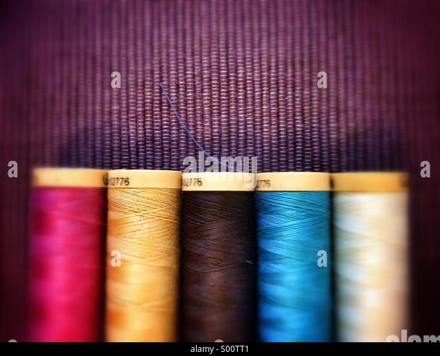 Sewing thread reels - Stock Image