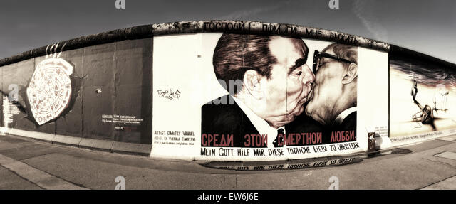 Stitched Panorama, Berlin Wall mural, East Side Gallery, Berlin, Germany - Stock Image