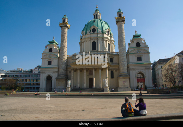 Church of St Charles Borromeo aka Karlskirche church Karlsplatz square Vienna Austria central Europe - Stock Image
