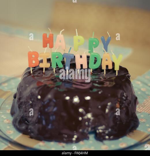 Close-Up Of Birthday Cake - Stock-Bilder