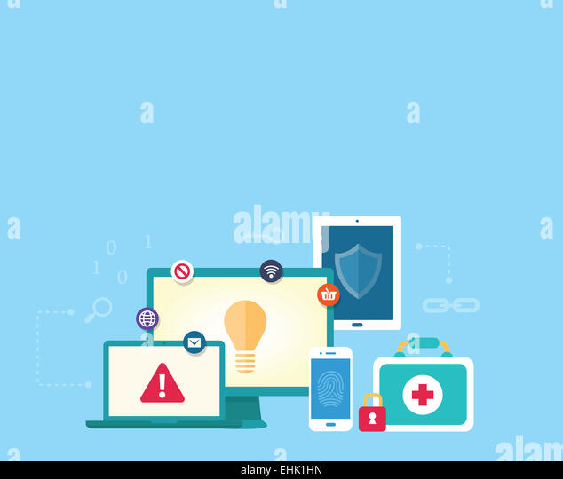 Computer data security concept with secure network between various devices like desktop, laptop, tablet and smartphone - Stock Image