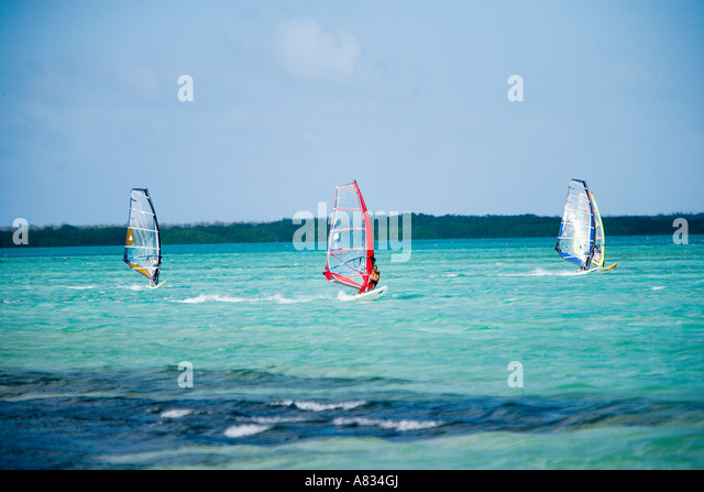 Outdoor activities at Jibe City at south end of Bonaire Netherland Antillies - Stock Image