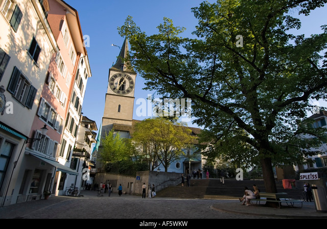 Switzerland Zurich St Peterhofstatt historic buildings church St Peter - Stock Image