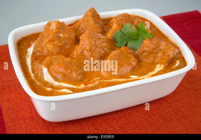 INDIAN BUTTER CHICKEN CURRY MEAL - Stock Image