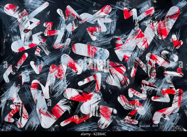 'Night Shift' - abstract artwork by Ed Buziak. - Stock Image