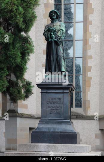 Zurich Switzerland  Ulrich Zwingli - Stock Image