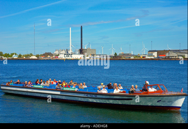 A sightseeing boat in central Copenhagen in Denmark EU - Stock Image