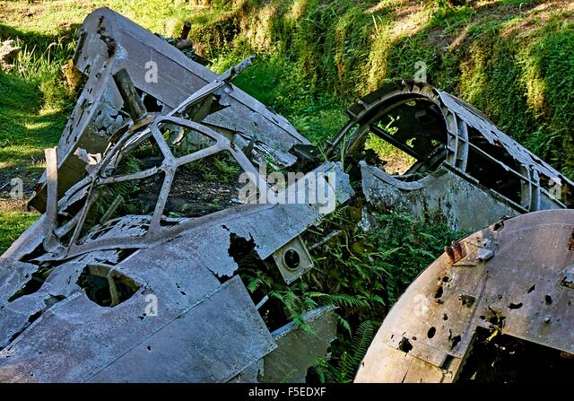 WW2 Japanese aircraft wreckage scattered among the palm trees Rabaul PNG - Stock Image