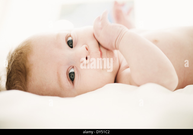 Portrait of baby boy 4 months old - Stock Image