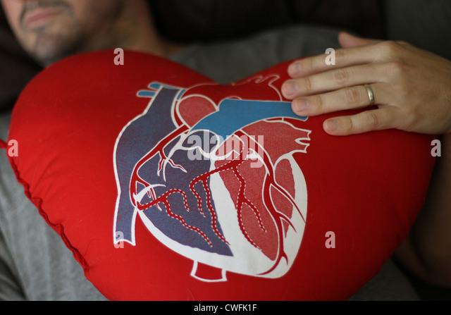 A man holding a heart shaped pillow after open heart surgery. - Stock Image