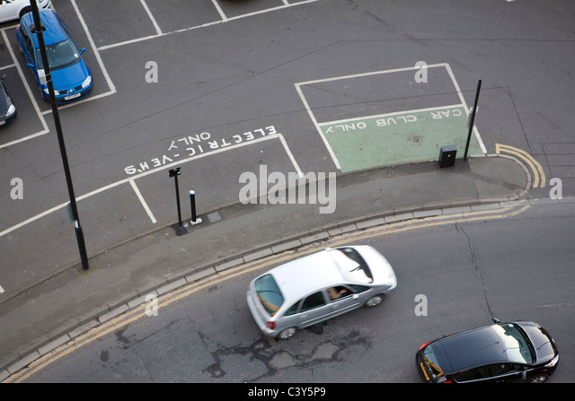Parking and charging space for electric vehicles and car club members only in Newcastle upon Tyne - Stock Image