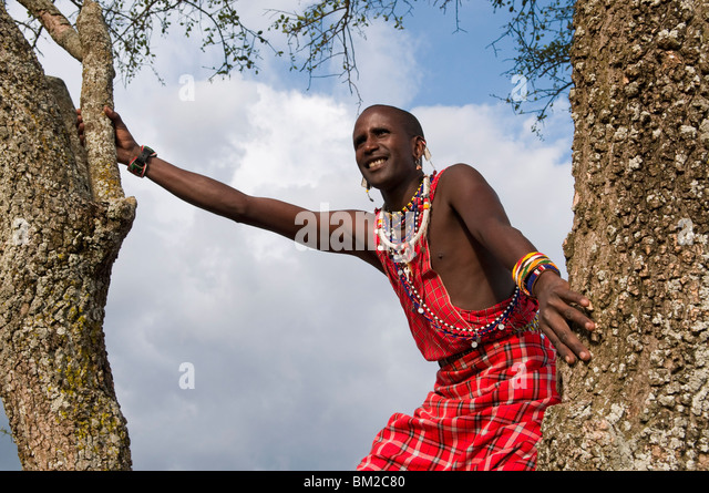 Masai searching for wildlife, Masai Mara, Kenya, East Africa - Stock Image