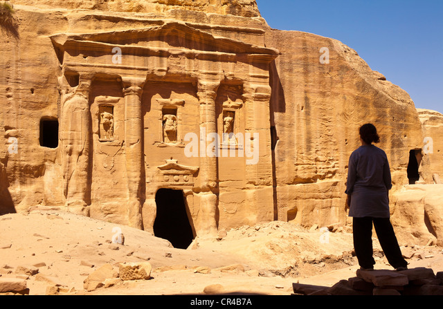 Jordan, Nabaean archeological site of Petra UNESCO World Heritage, The Siq, long sinuous gorge leading to the site, - Stock Image