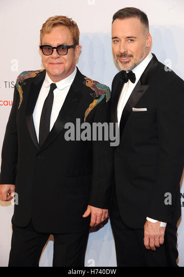 New York, NY, USA. 02nd Nov, 2016. Sir Elton John and David Furnish attend 15th Annual Elton John AIDS Foundation - Stock Image