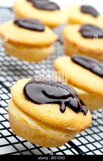 Tilted vertical shallow focus close up of a Boston Cream Pie Cupcake - Stock Image