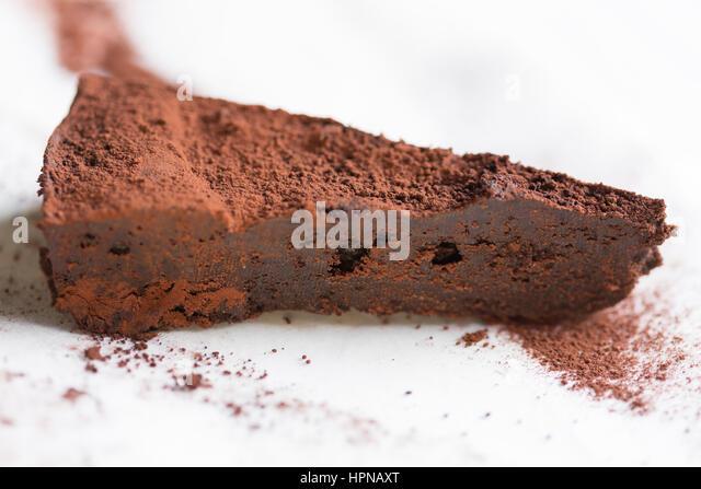 Slice of Chocolate Cake without flour - Stock Image