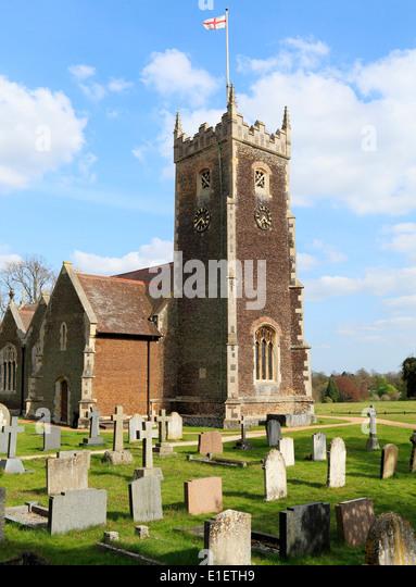 Sandringham Parish Church, St. George's Flag, Norfolk , England UK  flying flag of St. George, Saint George's - Stock Image